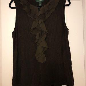Dark brown sleeveless ruffle top